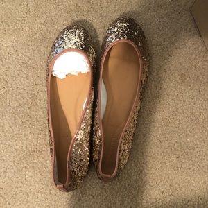 J. Crew Glitteratti Gold Ballet Flats